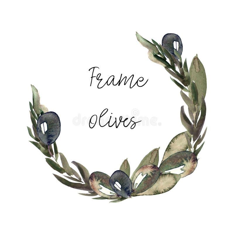 Guirlande avec des olives et des feuilles illustration stock