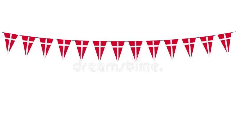 Guirlande avec les fanions danois sur le fond blanc illustration libre de droits