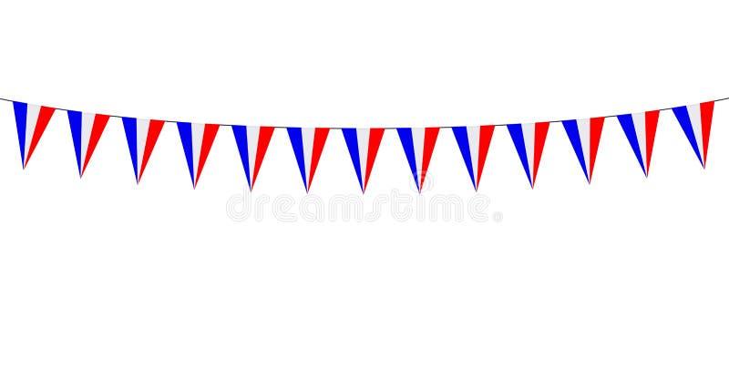 Guirlande avec les fanions rouges blancs bleus sur le fond noir illustration de vecteur