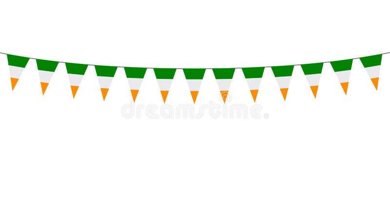 Guirlande avec les fanions rouges blancs verts sur le fond blanc illustration libre de droits