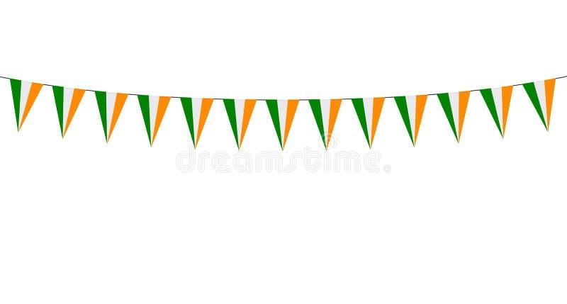 Guirlande avec les fanions rouges blancs verts sur le fond blanc illustration stock