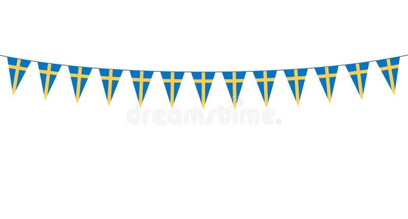 Guirlande avec les fanions suédois sur le fond blanc illustration stock