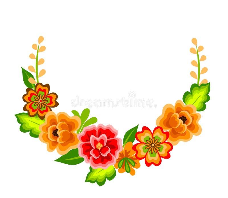 Guirlande avec les fleurs mexicaines illustration libre de droits