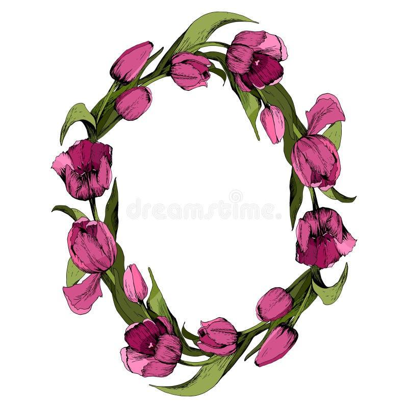 Guirlande avec les tulipes roses color?es Cadre ovale floral avec les tulipes color?es Humeur de source Illustration illustration de vecteur