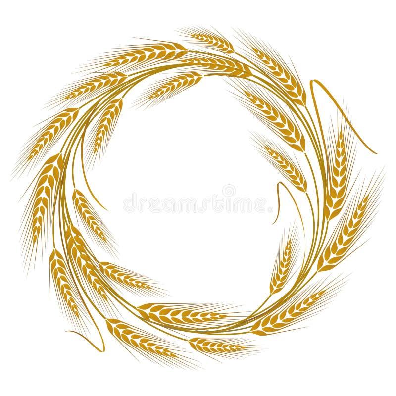 Guirlande circulaire de cadre des oreilles de blé illustration de vecteur