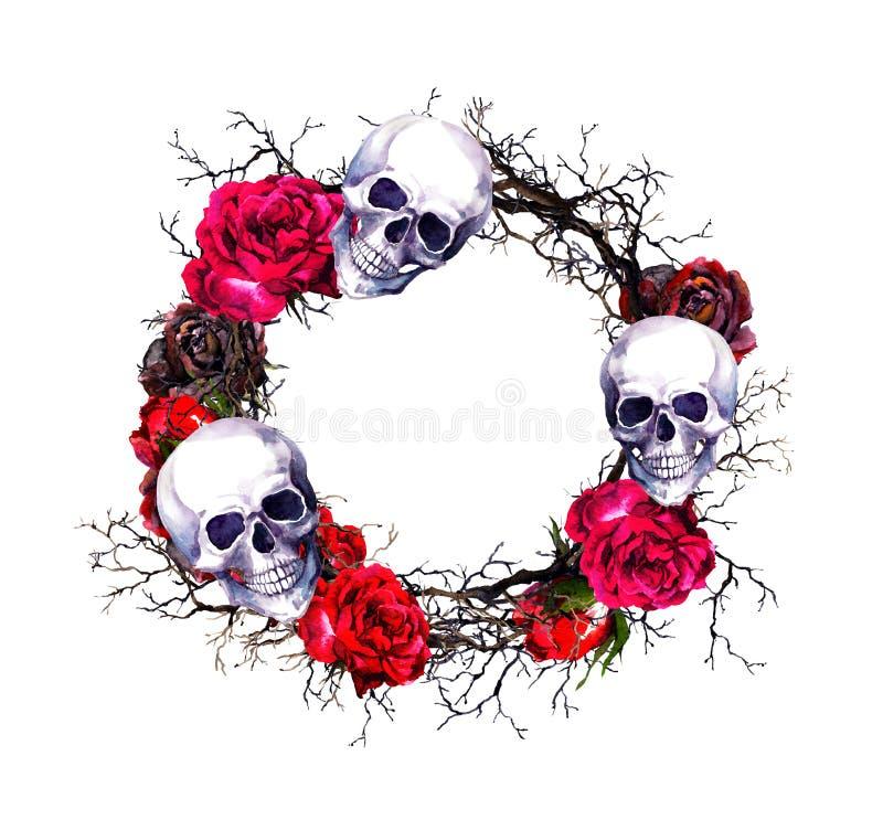 Guirlande - crânes, roses rouges, branches Frontière de grunge de Halloween d'aquarelle illustration de vecteur