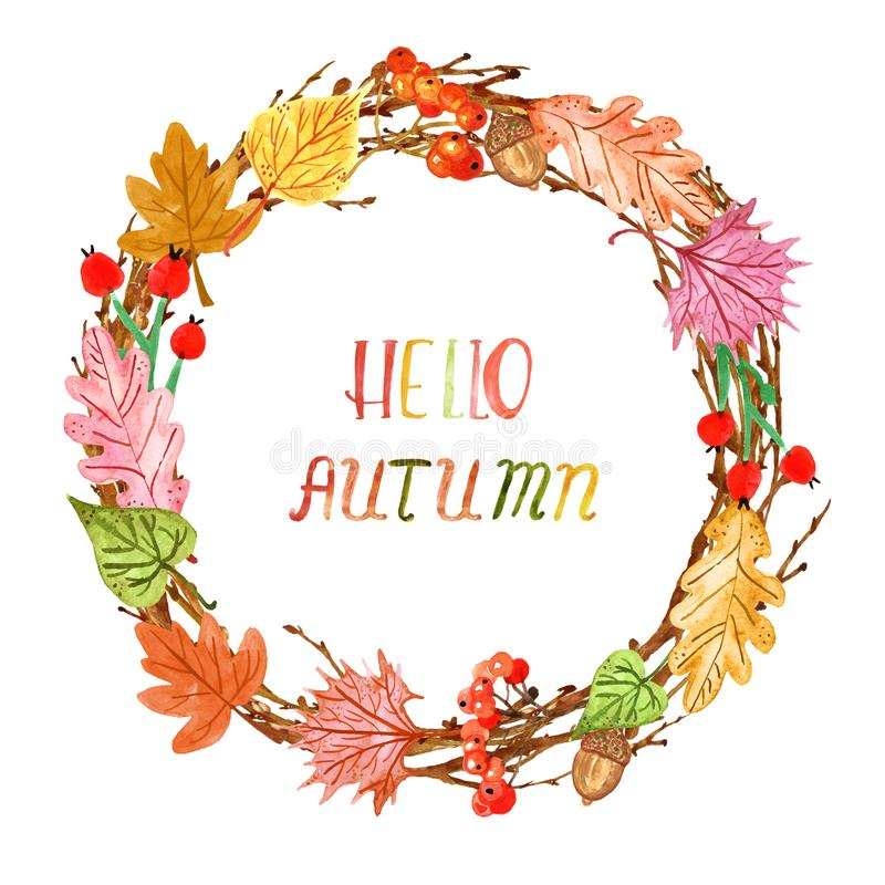 Guirlande décorative d'atumn d'aquarelle, d'isolement Feuilles et baies de chute sur le fond blanc Cadre de jour de thanksgiving illustration stock