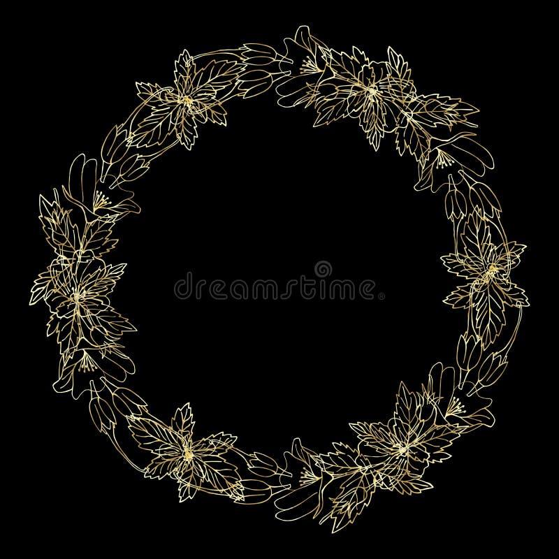 Guirlande détaillée de découpe avec des fleurs d'isolement sur le noir Cadre rond pour votre conception, cartes de voeux, annonce image stock