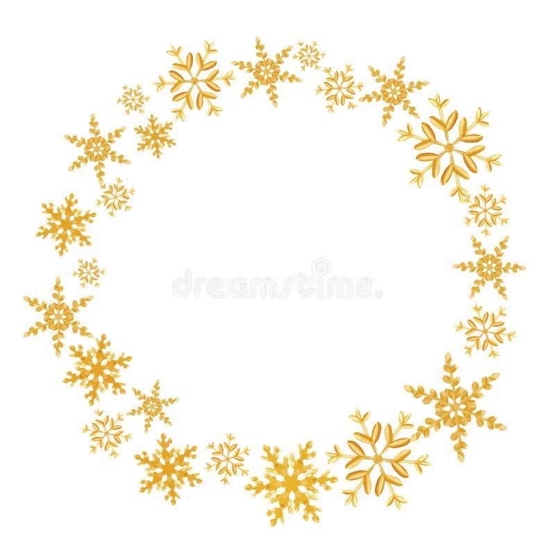 Guirlande d'éclaboussure de flocons de neige de Noël des flocons de neige aléatoires d'une dispersion d'isolement sur le blanc Ex illustration de vecteur
