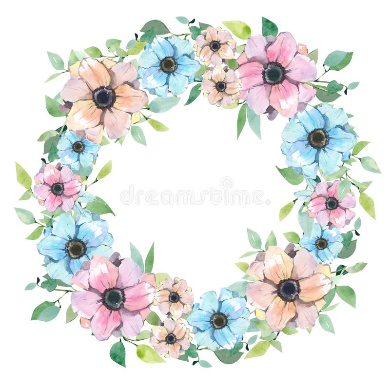 Guirlande d'aquarelle avec des fleurs Ressort ou été floral pour l'invitation illustration libre de droits
