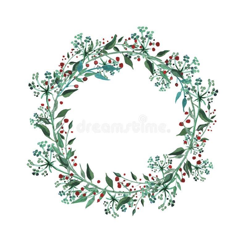 Guirlande d'aquarelle avec le wildflower, herbes, feuille jardin de collection, feuillage sauvage, fleurs, branches illustration stock