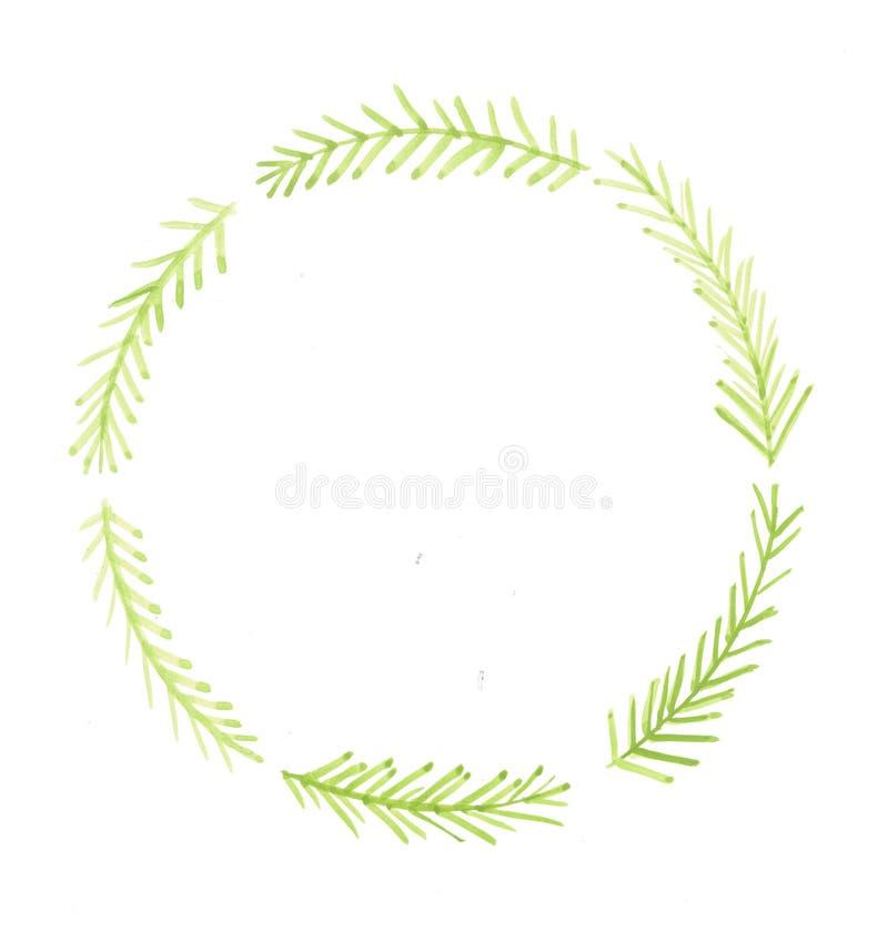 Guirlande d'aquarelle de branches de sapin Rond simple illustration de vecteur
