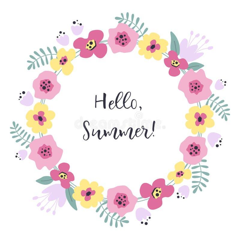 Guirlande d?corative des fleurs et des feuilles Cadre floral avec le rose et les fleurs jaunes illustration stock