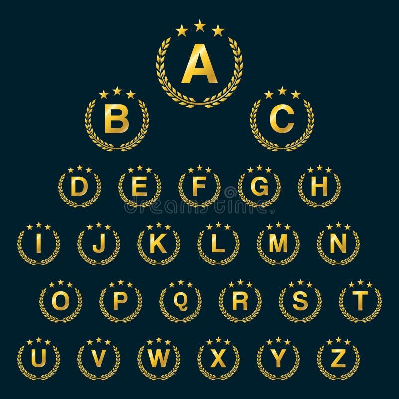 Guirlande d'or de laurier d'étoile Icône de logo de guirlande de laurier avec le capital illustration stock