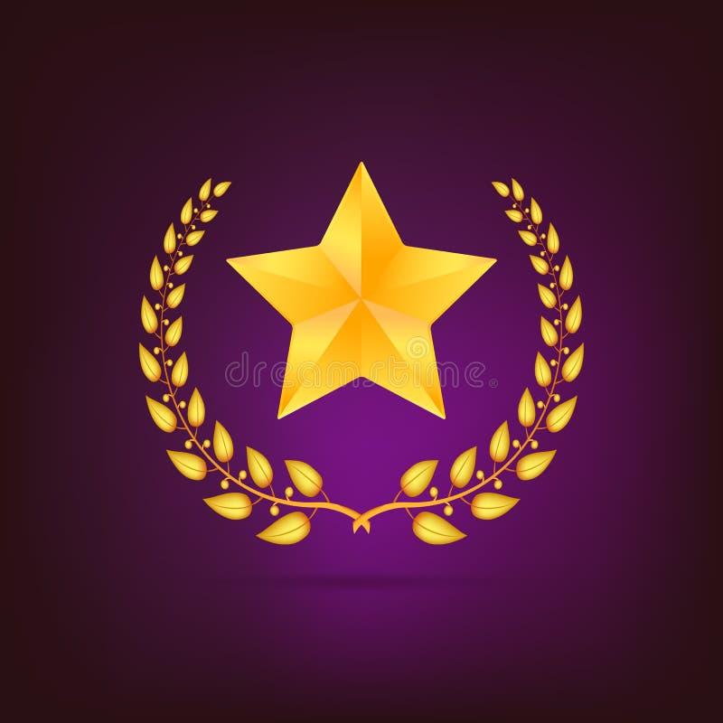 Guirlande d'or de laurier avec l'étoile illustration de vecteur