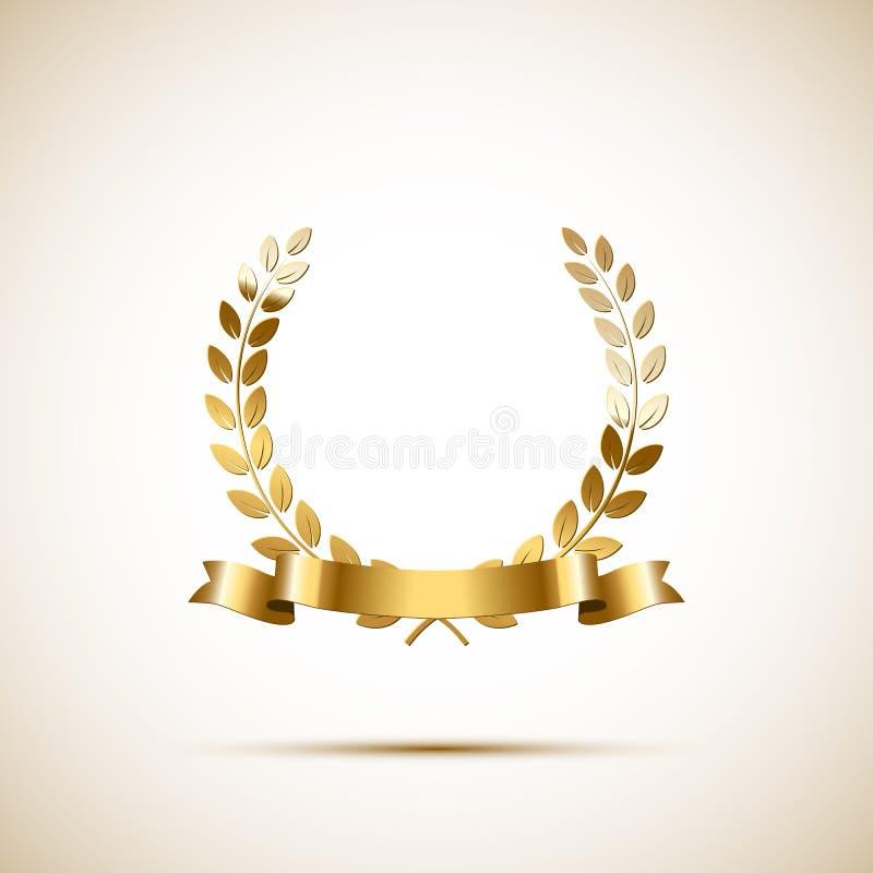 Guirlande d'or de laurier avec le ruban d'or Élément de luxe de conception de vecteur illustration stock