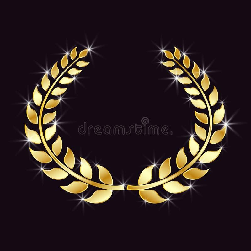 Guirlande d'or de laurier avec le scintillement, points de lumière sur un fond noir d'isolement Symbole de victoire, triomphe Élé illustration libre de droits