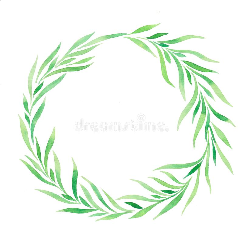 Guirlande d'illustration d'aquarelle, vert de feuilles illustration libre de droits