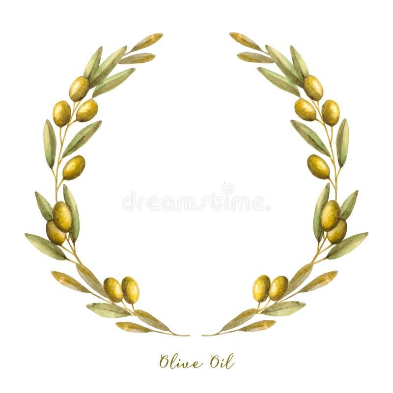 Guirlande de branche d'olivier d'aquarelle illustration libre de droits