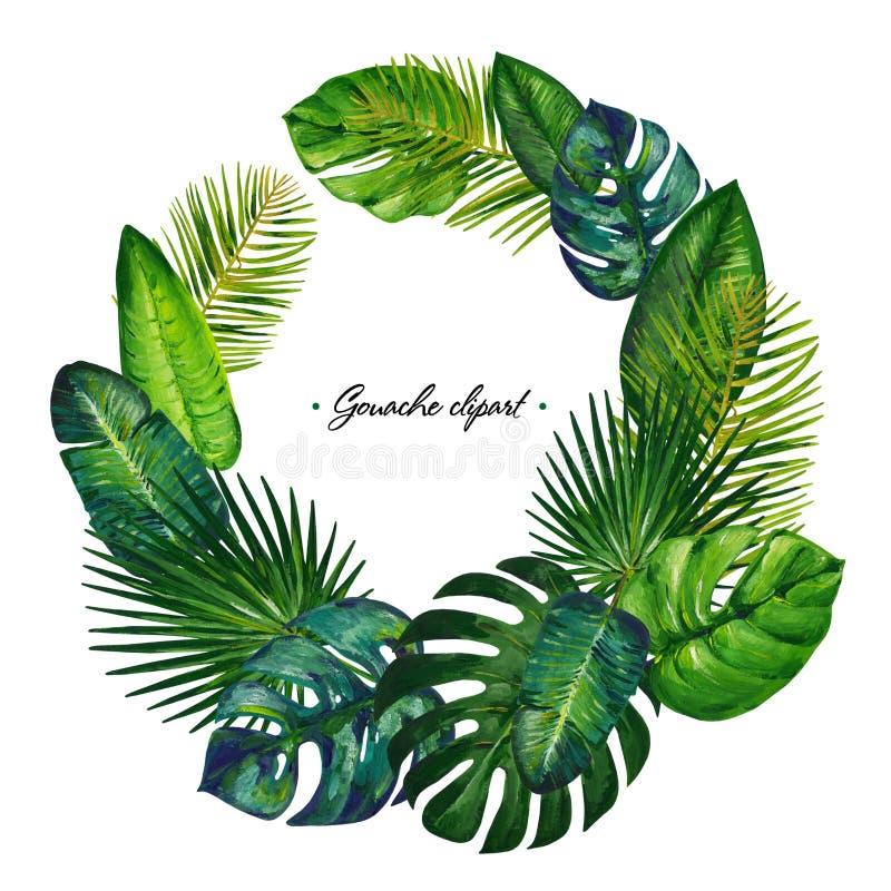Guirlande de cercle de gouache avec les feuilles tropicales Clipart pour l'oeuvre d'art et la conception de weddind illustration stock