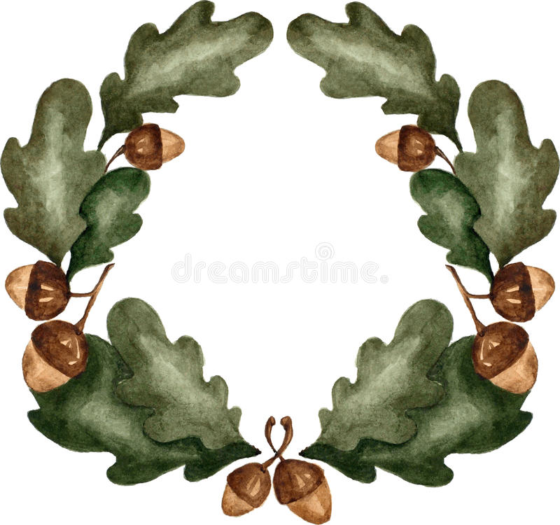 Guirlande de feuilles de chêne d'aquarelle sur le fond blanc illustration de vecteur