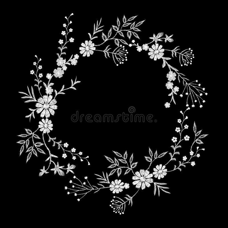Guirlande de fleur brodée par blanc de vintage illustration stock