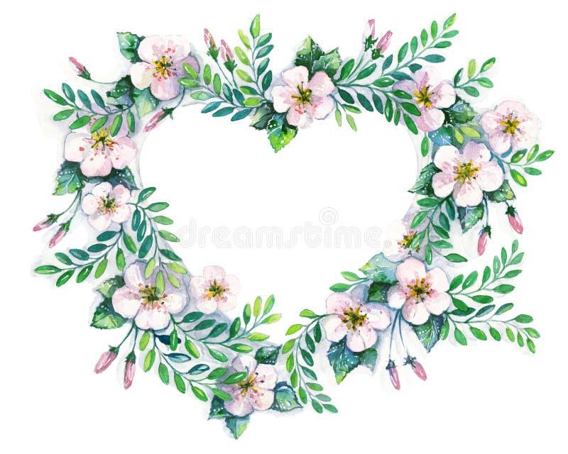 Guirlande de fleur dans un style d'aquarelle d'isolement en forme de coeur illustration de vecteur