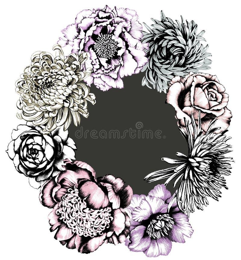 guirlande de fleurs Fond gris illustration de vecteur