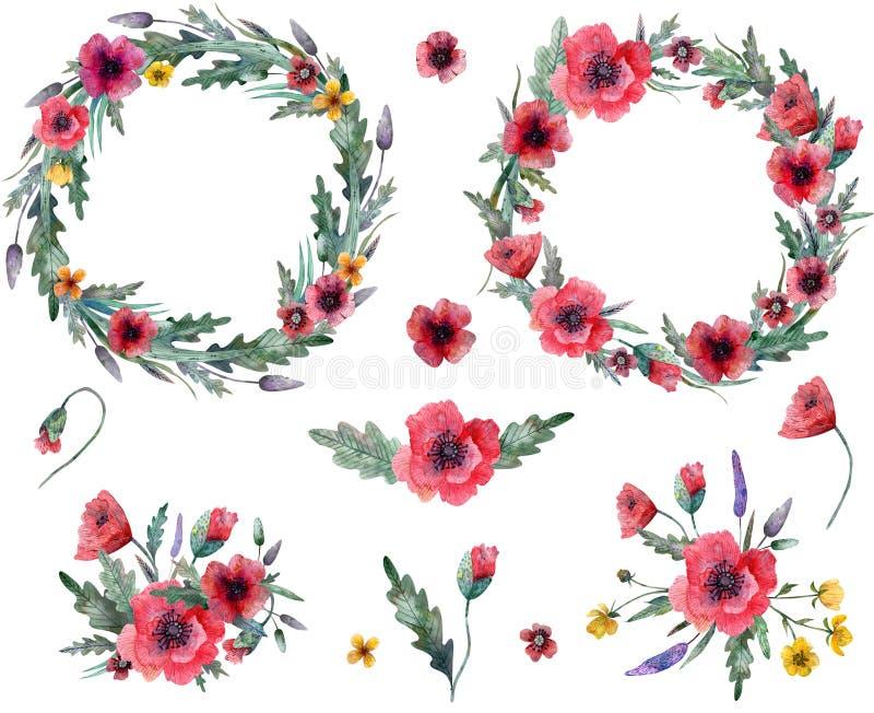 Guirlande de fleurs sauvages illustration libre de droits
