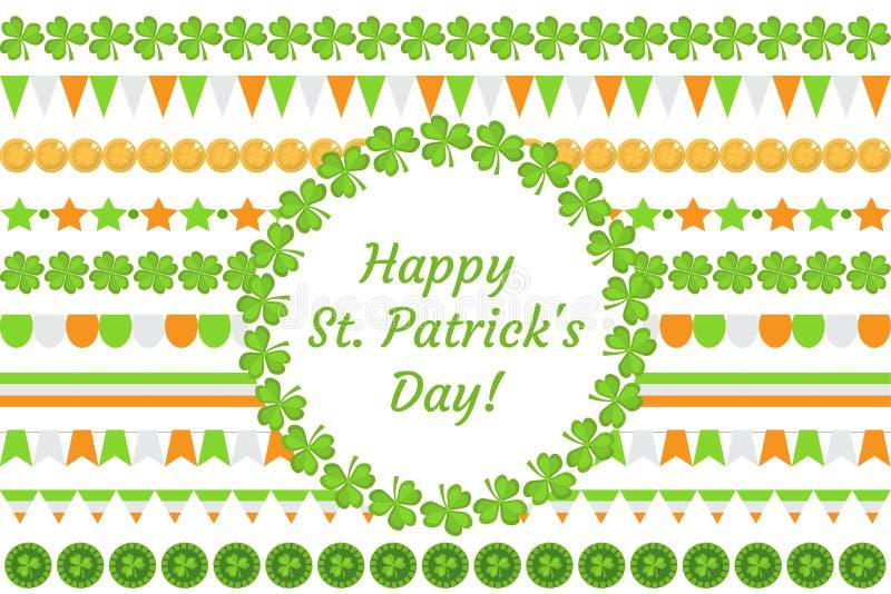 Guirlande de frontière de jour du ` s de St Patrick avec le trèfle, oxalide petite oseille, drapeaux, donnant un petit coup D'iso illustration stock