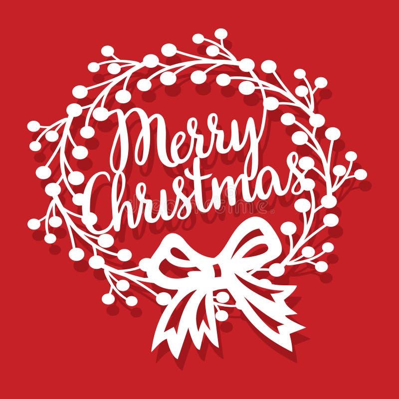 Guirlande de Joyeux Noël de cru avec la coupe de papier d'arc de ruban illustration de vecteur