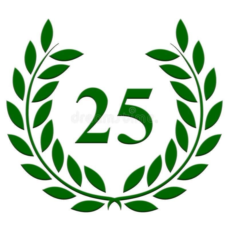 Guirlande de laurier anniversaire de 25 ans sur un fond blanc illustration libre de droits