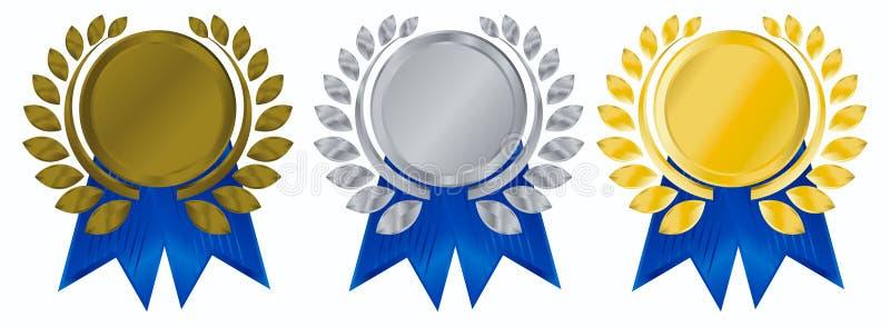 Guirlande de laurier avec des médailles illustration stock