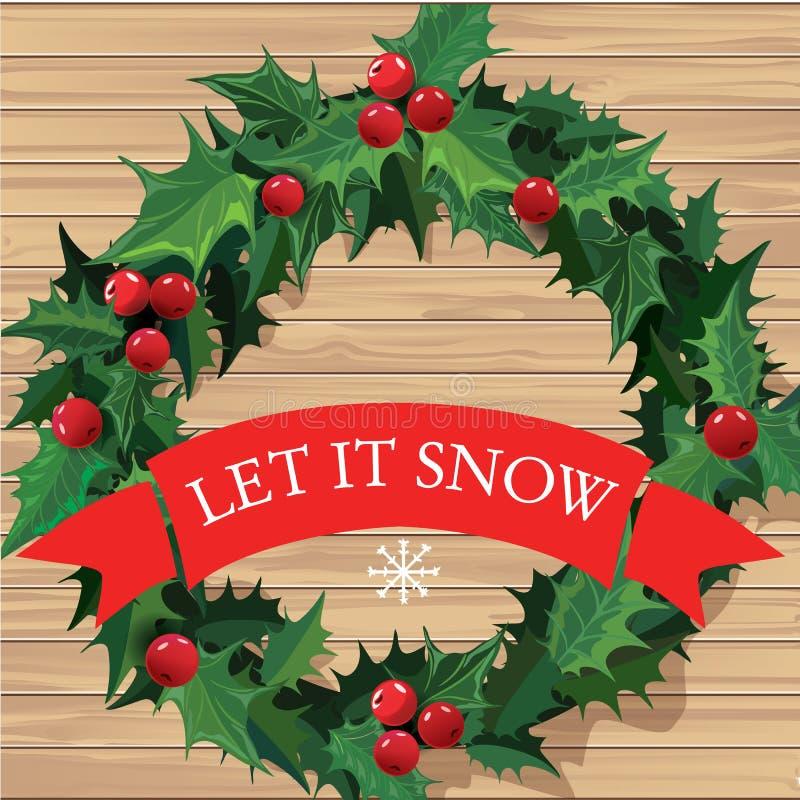 Guirlande de Noël avec la bannière des textes Vecteur illustration stock