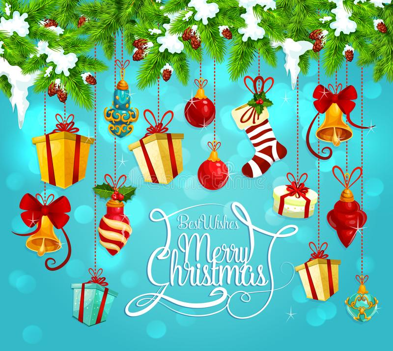 Guirlande de Noël avec la carte de voeux de cadeau et de cloche illustration libre de droits