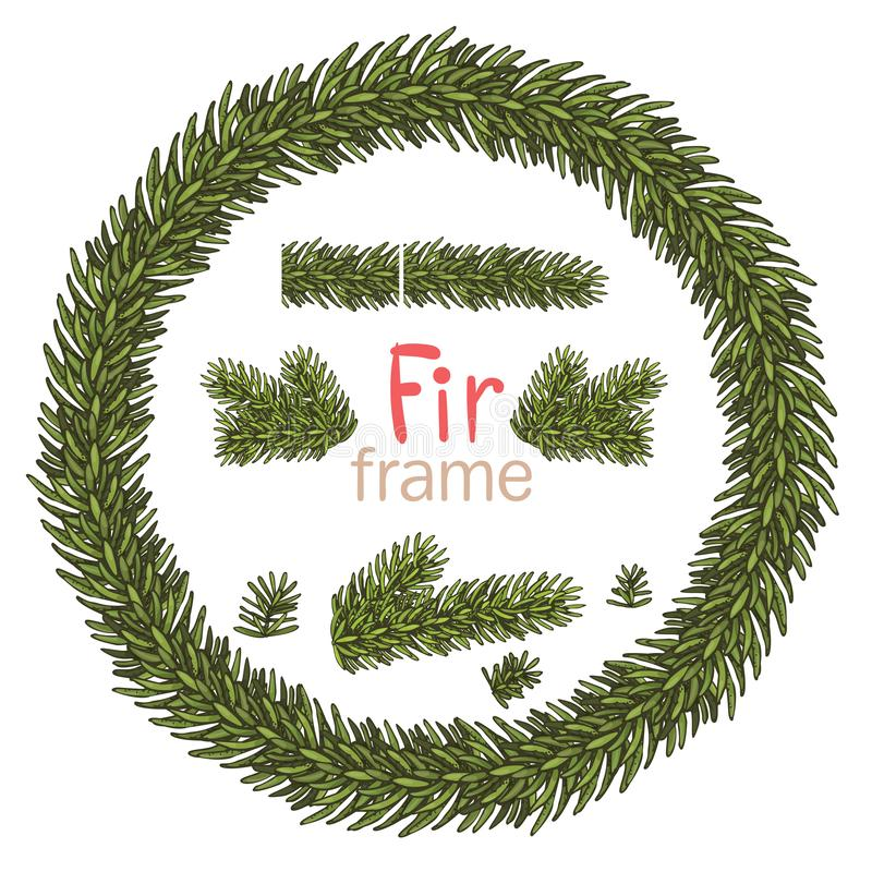 Guirlande de Noël avec le beuncher de sapin sur le fond blanc Décorations de Noël Illustration du vecteur eps10 illustration libre de droits