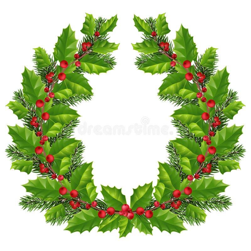 Guirlande de Noël avec les brindilles impeccables, houx avec les baies rouges, Chri illustration libre de droits