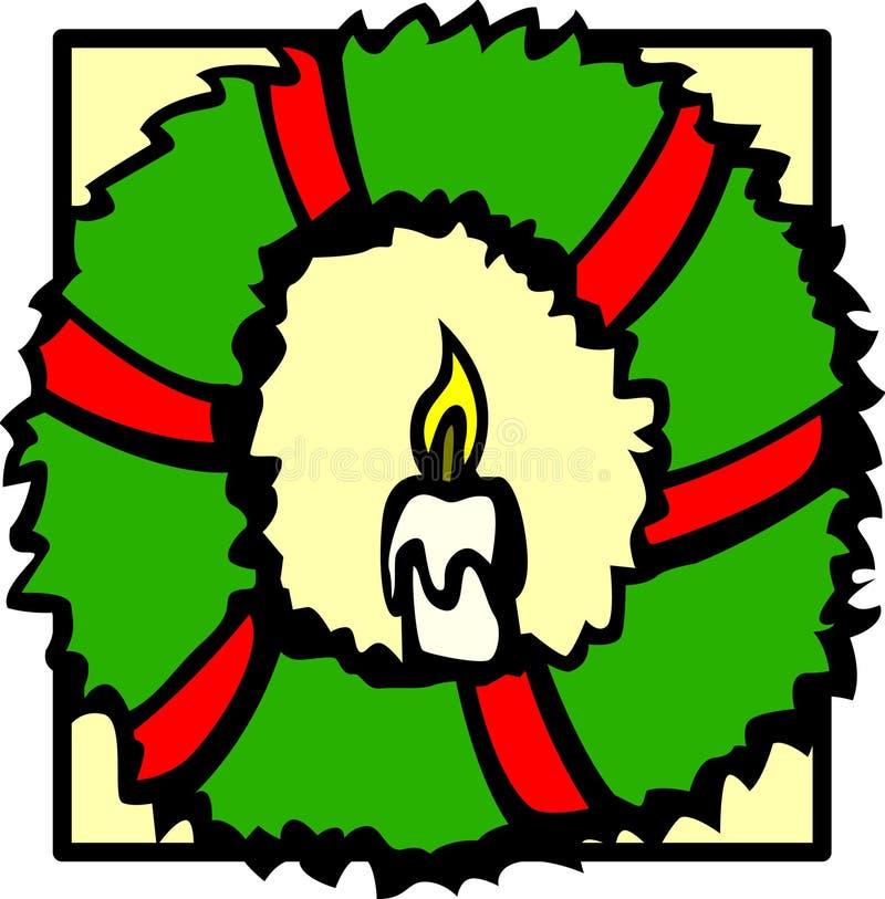 Guirlande de Noël avec une bougie illustration stock