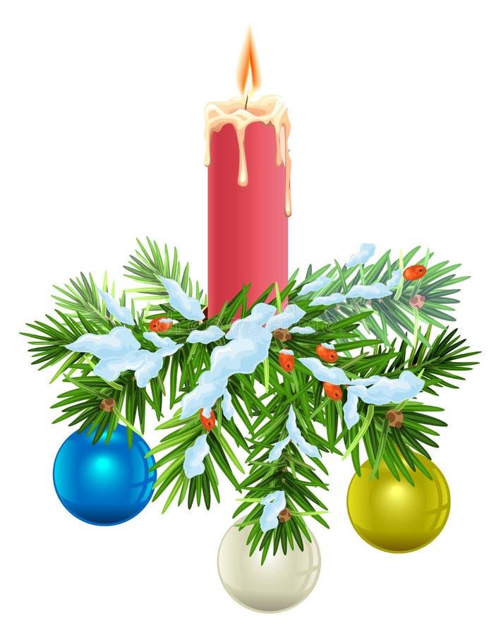Guirlande de Noël Branches impeccables sous la neige, la bougie brûlante et les boules illustration stock