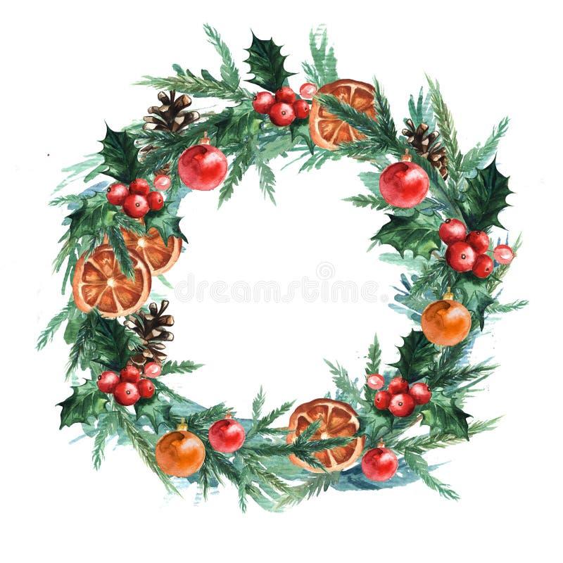 Guirlande de Noël d'aquarelle avec des boules, le pinecone, le misletoe, des oranges et des branches de Noël des arbres de Noël illustration de vecteur