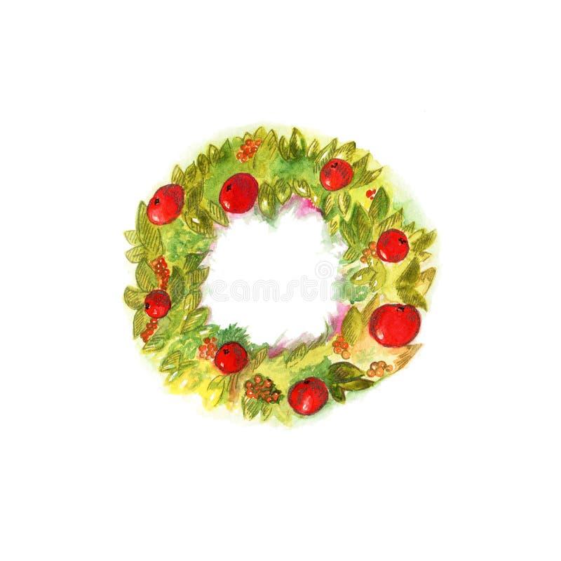 Guirlande de Noël d'aquarelle avec le décor dans la couleur rouge d'isolement sur le fond blanc illustration stock