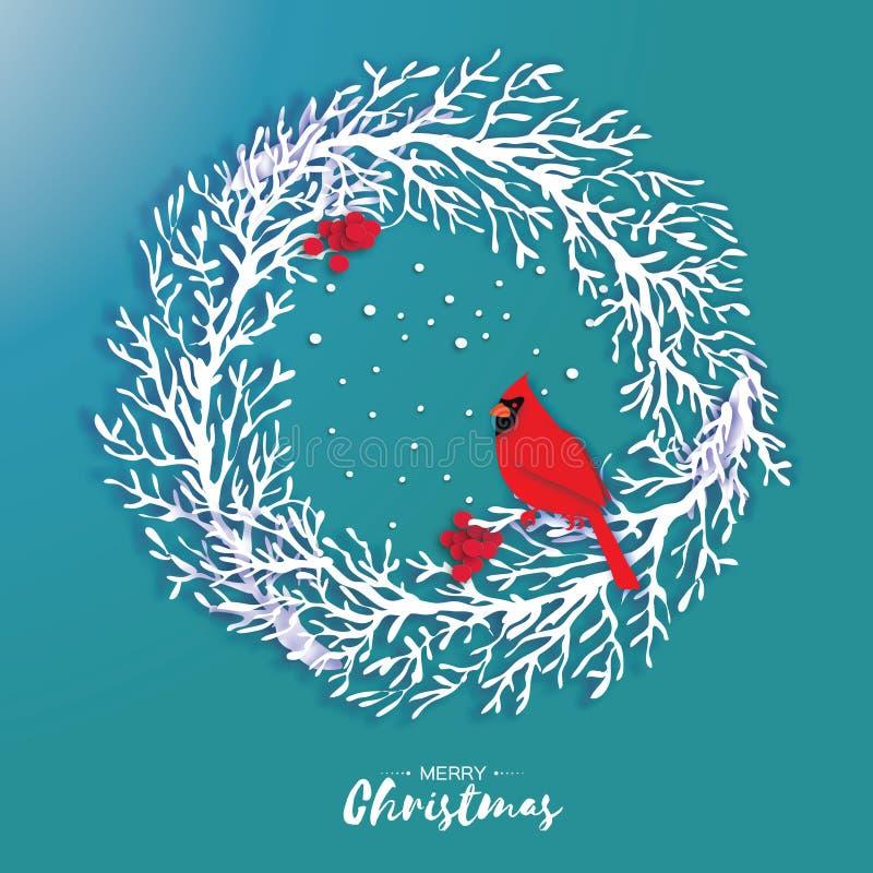 guirlande de Noël de l'origami 3D avec la baie rouge de cardinal et de sorbe Branche d'arbre de coupe de papier oiseau An neuf he illustration stock
