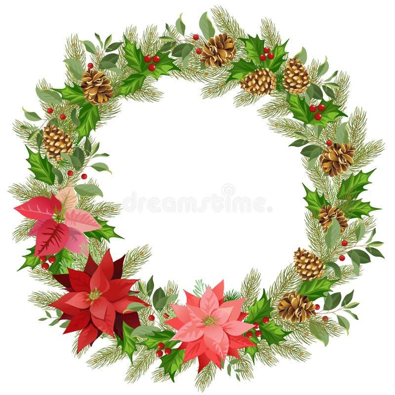 Guirlande de Noël de poinsettia et de feuilles rouges Endroit pour votre texte illustration stock