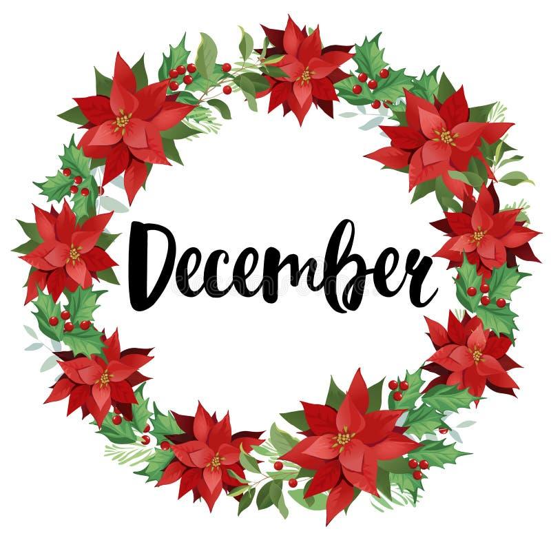 Guirlande de Noël de poinsettia et de feuilles rouges Illustration d'aquarelle illustration de vecteur