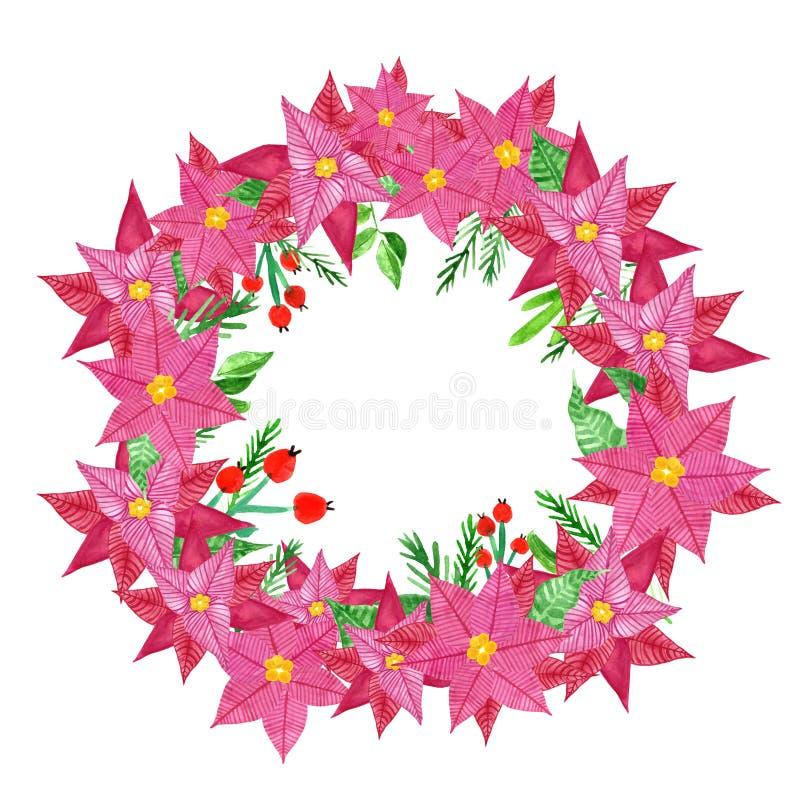 Guirlande de Noël de symbole de vacances avec les fleurs de poinsettia d'aquarelle peinte à la main et les baies rouges de houx,  illustration de vecteur