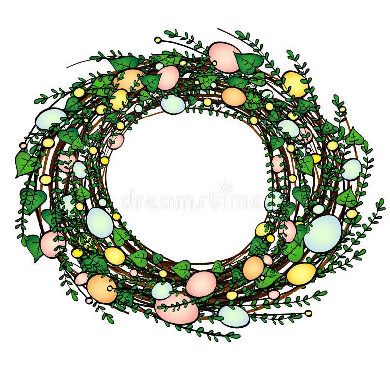 Guirlande de Pâques d'herbe verte avec des oeufs Objet sur un fond blanc Rétro type de cru illustration stock