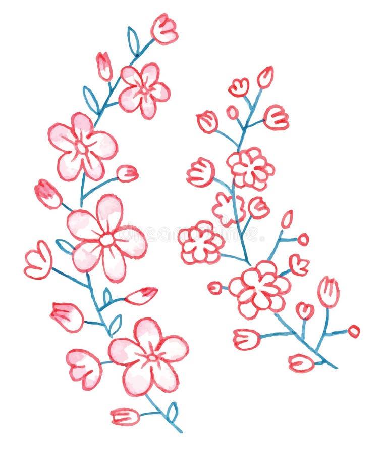 Guirlande de peinture de main des fleurs d'aquarelle illustration libre de droits