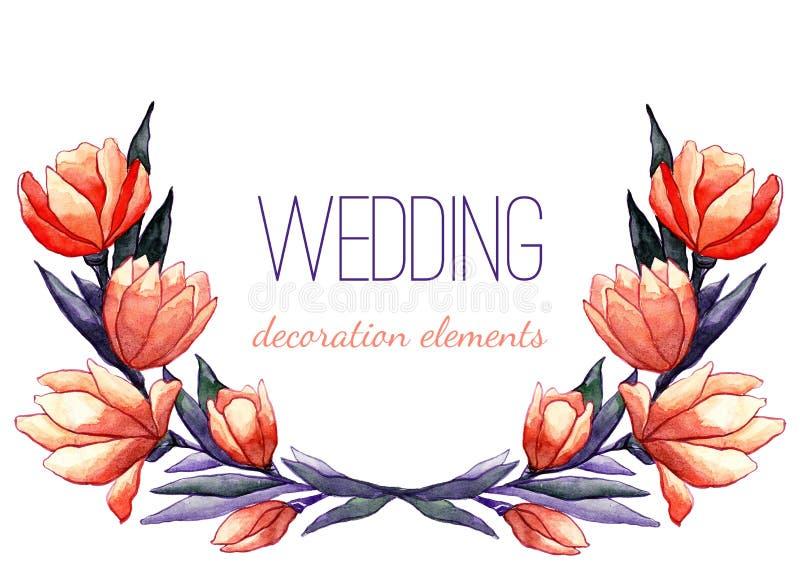 Download Guirlande De Tulipes D'aquarelle Pour épouser Le Décor Illustration de Vecteur - Illustration du retrait, rouge: 77157038
