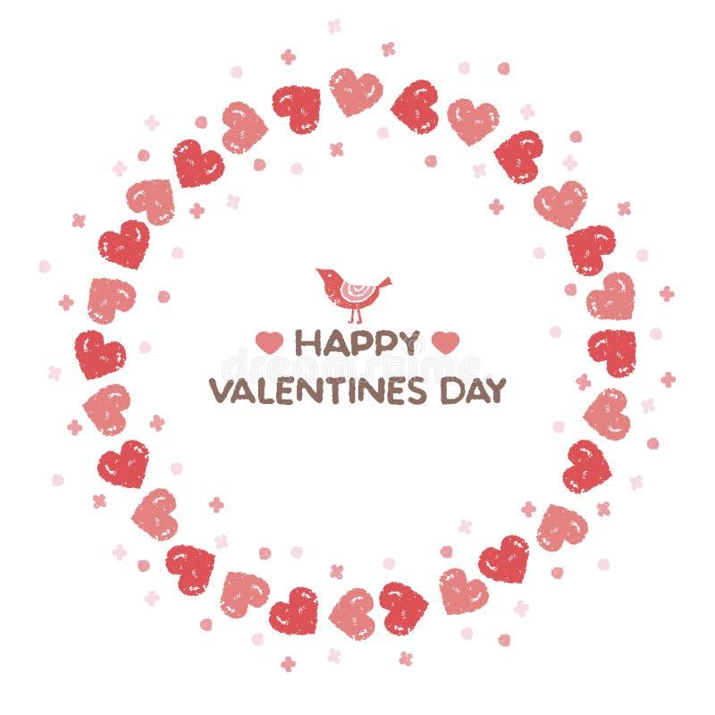 Guirlande de Valentine avec des coeurs rouges et un petit oiseau illustration de vecteur