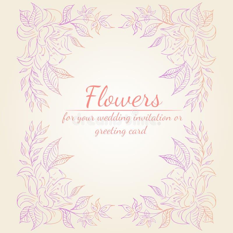 Guirlande des branches de fleurs de roses ou de pivoines avec les couleurs de rose, pourpres et de corail ?l?ments floraux de con illustration stock